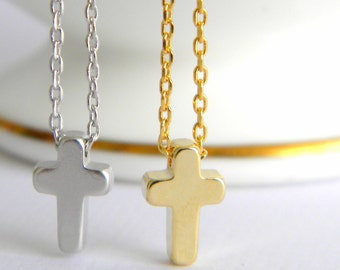 Gold Cross Necklace, Silver Cross Necklace, Tiny Cross Necklace, Dainty Cross Necklace, Religious Necklace, Girls Cross Necklace