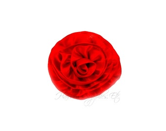 Red silk flowers etsy red rose ruffle silk flowers 2 inch red flowers red hair flowers red mightylinksfo Choice Image