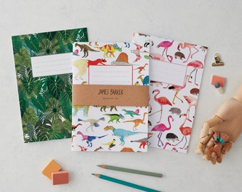 Notebook Set of 3 of your choice, Flamingos, Dinosaurs, Botanical Plants, Alice in Wonderland, Stationery, blank notebook, journal, A5 book