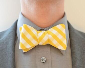Men's Bow Tie in Mustard Yellow Check-  wedding groomsmen ties self tie freestyle