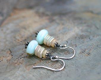 Peruvian Opal, Ethiopian Opal Gemstone Earrings, Sterling Silver Gemstone Earrings, Aqua Blue Stone,Stacked Earrings, Opal Gemstone Earrings
