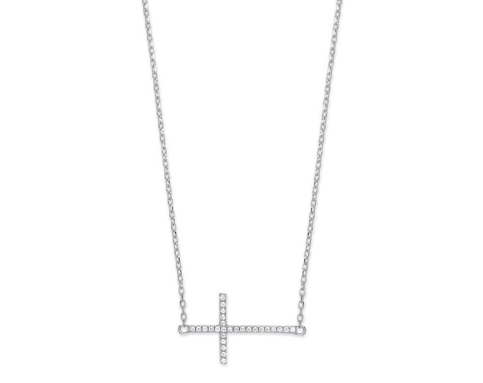 "Sterling Silver Cz Pave 2cm Sideways Cross Pendant on 16""-18"" Chain"