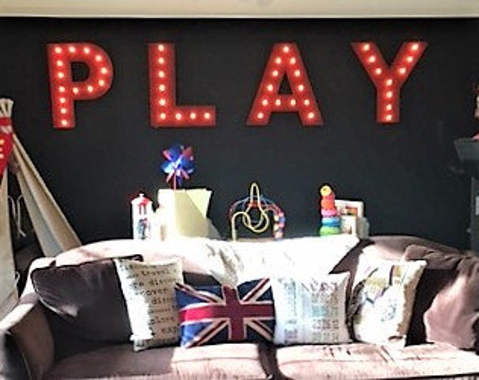 4pc Personalized PLAY LOVE  Wood Lighted Marquee Sign ......Game Room Kids Room Wedding Photo Prop Pictures Party