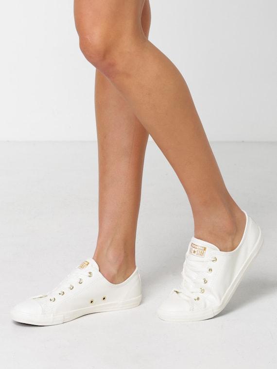 White Ivory Converse Dainty Leather Gold Bridal Wedding Bride Slip on w/ Swarovski Crystal Rhinestone Chuck Taylor All Star Sneakers Shoes