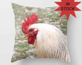 Rooster Pillow Cover, Farmhouse Decor, Toss Cushion Case, Rustic, Kitchen Hen Accent, Gift for Chicken Producer, Barnyard Fowl, 18x18 Inches
