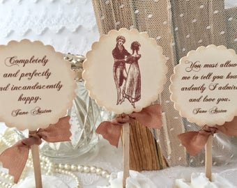 Jane Austen Cupcake Toppers, Jane Austen Toppers, Pride and Prejudice Toppers, Set of 12