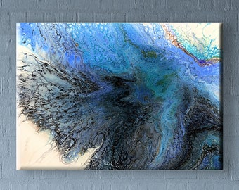 70x50 cm Original abstract acrylic fluid pour painting on canvas #81 BLUE 28x20 inch