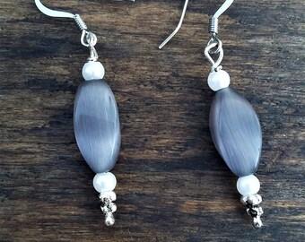 Purple and Pearl Earrings