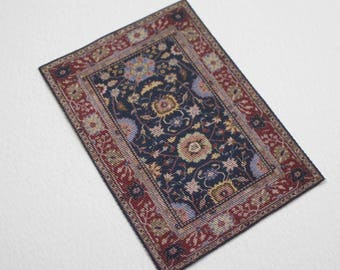 Dollhouse Miniature Oriental Rug Navy Brick Red and Tan 1:12 scale