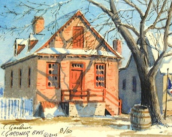 """Williamsburg Building Signed & numbered watercolor print 8"""" x 10"""" including a mat"""