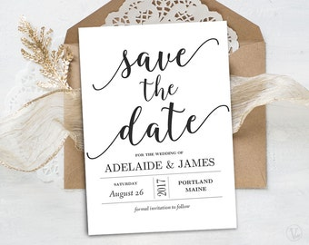 Save the Date Template, Printable Save the Date Card, INSTANT DOWNLOAD, Editable Text, 5x7, Modern Calligraphy, VW10