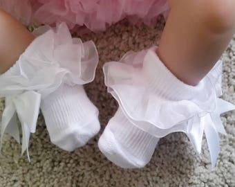 Baby girl socks, baby socks, white socks, Romany baby socks, White lace socks, ruffle lace socks, white ankle socks, Christening socks