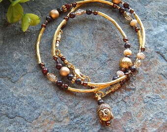 Brown and gold beaded wrap bracelet - buddha bracelet - convertible necklace or bracelet -  brown stone and czech glass layering bracelet