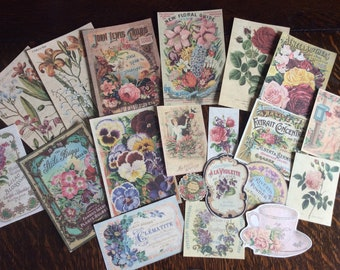 Ephemera kit/ Vintage flowers/ No.1
