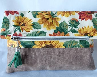 Fold Over Clutch - 'Sunflowers'
