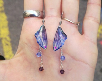 Earrings iridescent blue purple fairy wings