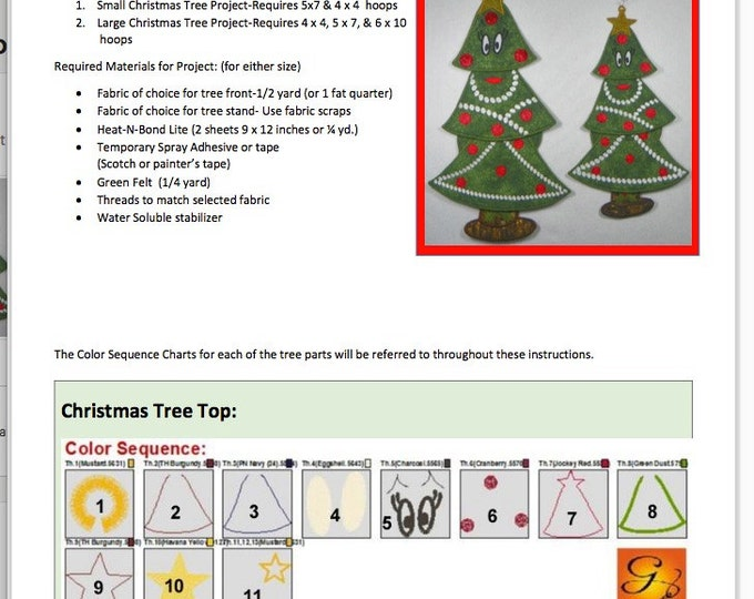 """FSA Christmas Tree Project in Two Sizes  (12"""" or 15"""" tall) Free-Standing Applique"""