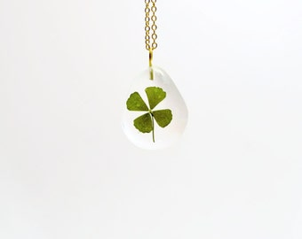 Tiny clover necklace, real four leaf clover necklace, clover jewelry, luck necklace, lucky charm jewelry, lucky charm necklace, clover gift