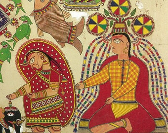 Shiva and Parvati under a bamboo grove, Madhubani art, Giclee print