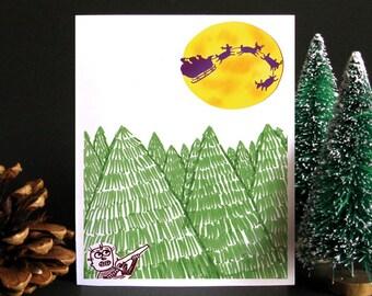 Funny Christmas Card, Funny holiday card, Holiday card, Christmas card, Weird Christmas, Gift idea, Gift for men - Hunting Santa