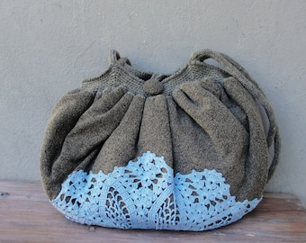 Lace Bag, Good Old Times Vintage Doily, Knit fabric and crocheted Bag