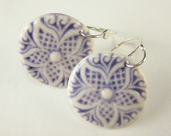 Ceramic Earring Lavender Purple Porcelain Star Earrings With Hand Forged Sterling Silver Earwires