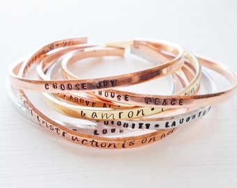 Personalized Hand Stamped Skinny Cuff Bracelet Your Choice of Word or Phrase Customize-able Silver Aluminum Brass Copper Bracelet