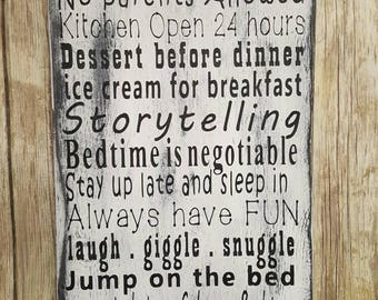 Gammy's House Rules sign