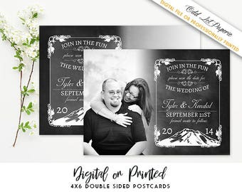 Mountain Save the Date, Photo Save the Date, Chalkboard Save the Date Postcard, PRINTABLE Digital File or Printed 4x6 Postcard Mountains