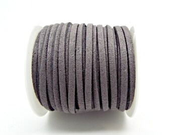 5M Faux Suede Cord, Grey Faux Suede, Necklace Cord, 3mm x 1.5mm, Suede Bracelet, 5 Metres Grey Cord, Jewelry Supplies, UK Seller