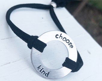 Choose Kind Bracelet - Choose Kind Faux Leather Washer Wrap Bracelet - Hand Stamped Bracelet - Washer Bracelet - Kindness Gift - Friendship