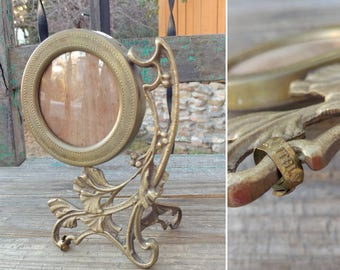 """Lovely Antique Italian Brass Nouveau Round Pedestal Picture Frame or Add Mirror measuring 7"""" x 5.25"""" x 3"""" Overall ~ Boudoir Home Decor ~"""