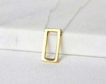 Modern Brass Geometric Necklace, Mixed Metal Jewellery, Brass Pendant Necklace, Modern Brass Jewelry, Minimalist Necklace, Everyday Necklace