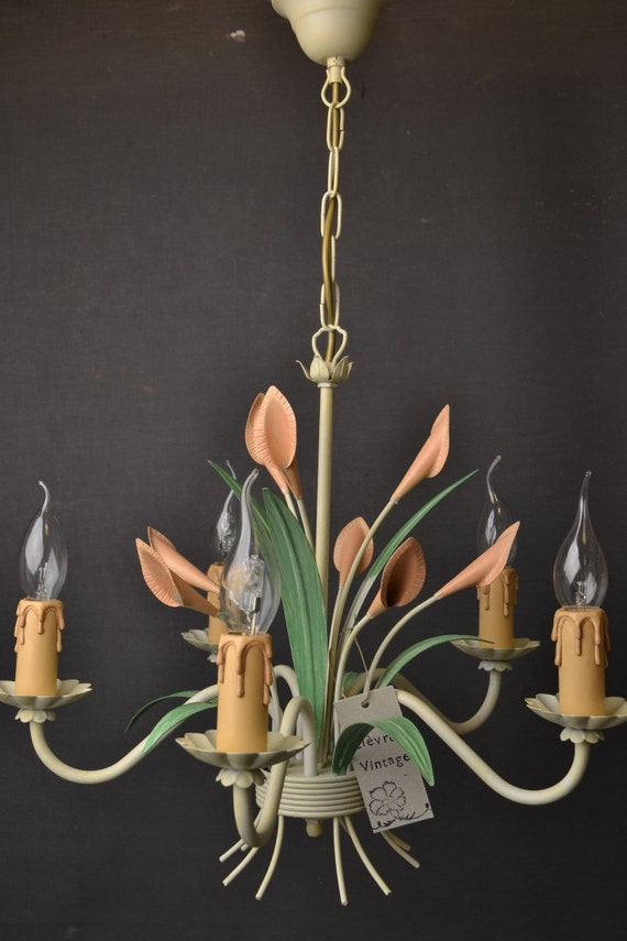 Tole flower chandelier with tulips