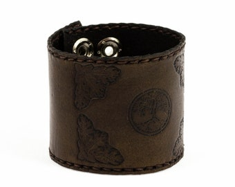 Leather Bracelet ' Tree of life ' - Craftwork - Made in Poland
