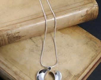 Large Open Heart pendant, sterling silver heart pendant, modern heart pendant