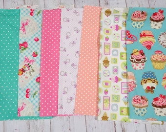"""Girls fabric scrap including sweets and strawberry   print 25 cm by 25   cm or 9.6 """" by 9.6""""  set of 8 pieces sc07"""