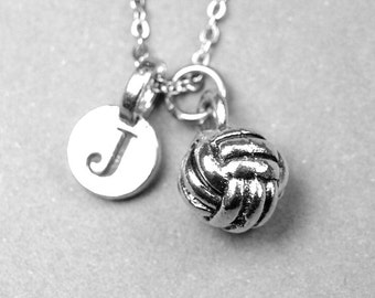 Volleyball Necklace, 3D Volleyball charm, silver plated pewter, initial necklace, initial hand stamped, personalized monogram