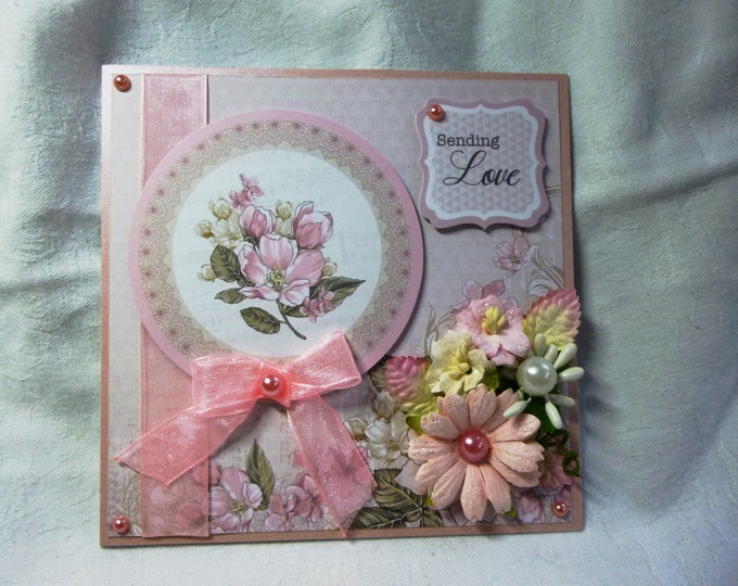 Floral Greeting Card, Any Occasion Card, Birthday Card, Greeting Card, Sending Love Card, Floral Card, Pink And White, Female, Any Age