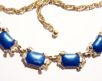 Vintage Signed Bogoff Necklace Blue Thermoset Goldtone