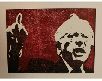Bernie Sanders; three colour woodcut print
