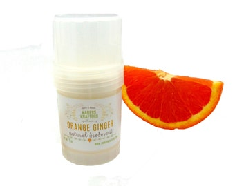 Orange Ginger Natural Deodorant -  Aluminum Free - 24-Hour Protection - Shea Butter- Coconut Oil - Essential Oils - Vitamin E - Gentle