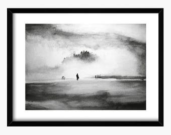 Original watercolor, Fog painting, Black and white watercolor, silhouette painting, original painting, landscape painting, nature watercolor