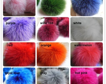 9cm Real Fox Fur Pom Pom Knit Hat Pompoms Balls With Elastic Rings Sew on
