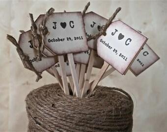 Rustic Wedding Cupcake Toppers, Wedding Drink Stirrers