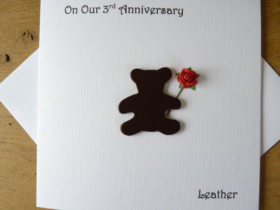 What Is 3rd Wedding Anniversary Gift: 3rd Wedding Anniversary Card Three Years Leather Third