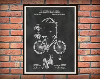 Patent 1896 Bicycle with an Adjustable Parasol and Support Art Print Designed in Rochester, NY - Poster - Wall Art - Velocipede