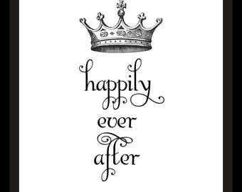 Happily Ever After Crown Romantic Printable Art Print