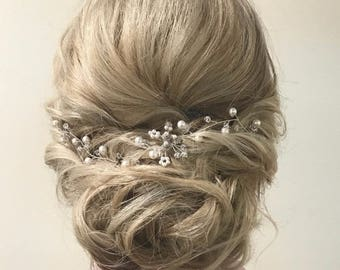 Wedding Hair Piece Pearl Wedding Hair Vine Bridal Hair Piece Pearl Bridal Hair Vine Bridal Head Piece Pearl Hair Vine Pearl and Crystal TIA