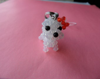 White Opal Yorkshire Terrier with Red Ribbon - Swarovski Crystal Phone Charm